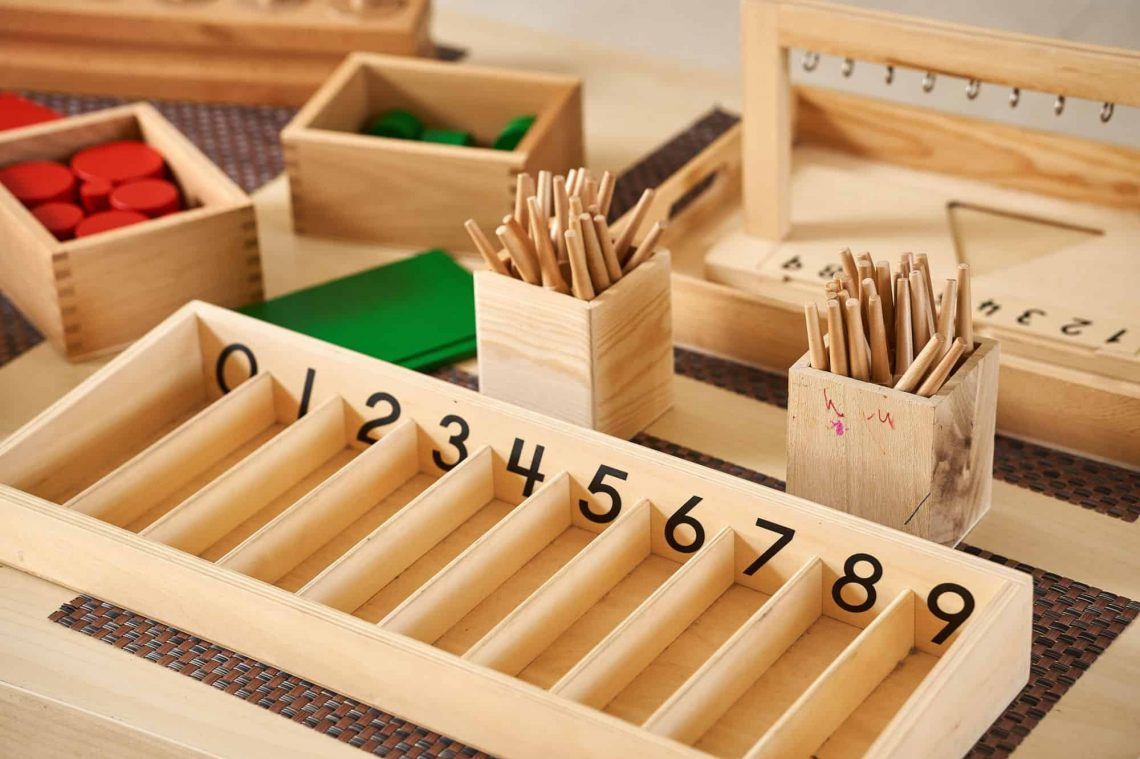 Montessori abacus for counting with wood and pebbles