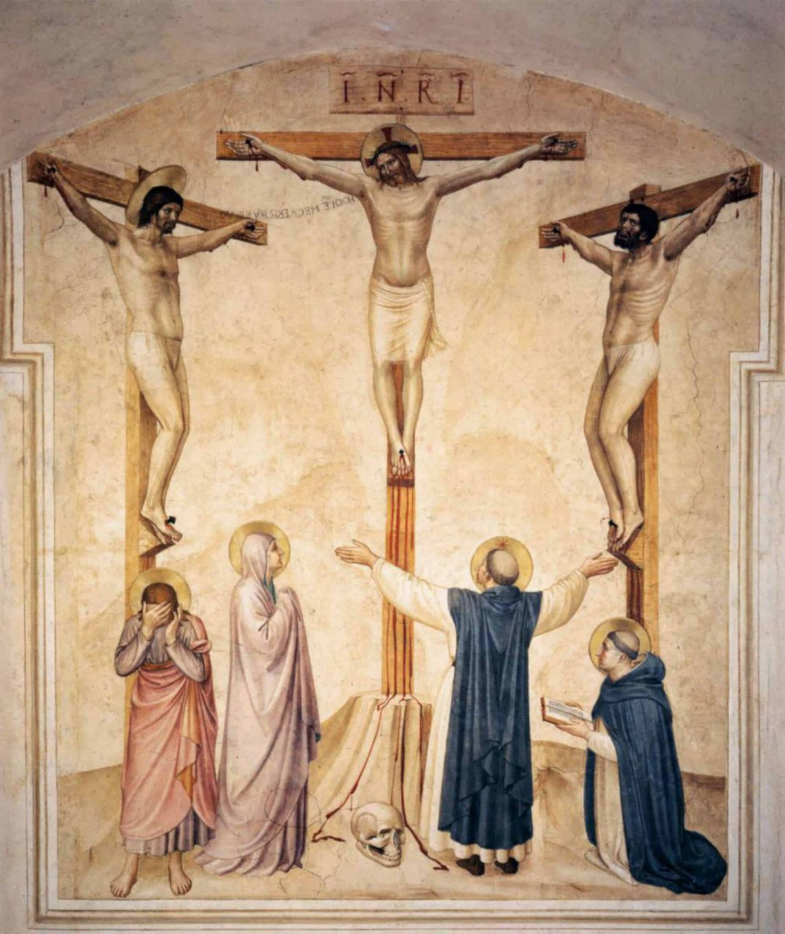 ANGELICO, Fra (b. ca. 1400, Vicchio nell Mugello, d. 1455, Roma)  Crucifixion with Mourners and Sts Dominic and Thomas Aquinas (Cell 37) 1441-42 Fresco, 213 x 165 cm Convento di San Marco, Florence  This is the fresco on the wall of Cell 37 of the Convento di San Marco in Florence.  The Crucifixion is depicted in seven cells in the corridor for lay brothers. While the friars and novices may have been moved to prayer at the thought or sight of the crucified Christ, the lay brothers required more direction in imagining the Passion. By incorporating more narrative elements, these images were able to prompt their devotion more efficaciously. In six cells Fra Angelico included the grieving Virgin and other mourners along with St Dominic or Peter martyr to cue the beholder's response. So it was in Cell 37, the large size of which suggests it may have served as the Chapter Room for the lay brothers as they met each day under the guidance of their own prior.  The contribution of an assistant can be assumed in the execution of this fresco.       --- Keywords: --------------  Author: ANGELICO, Fra Title: Crucifixion with Mourners and Sts Dominic and Thomas Aquinas (Cell 37) Time-line: 1401-1450 School: Italian Form: painting Type: religious